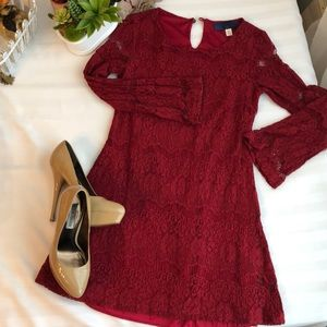 Maroon minidress with lace overlay